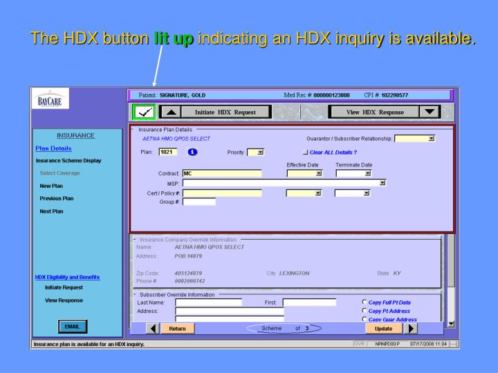 The HDX button