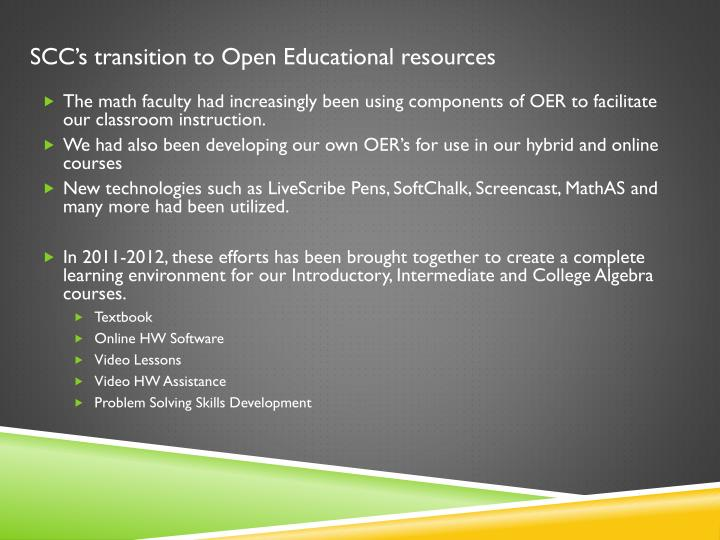 Scc s transition to open educational resources