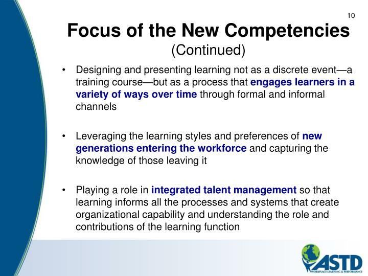 Focus of the New Competencies