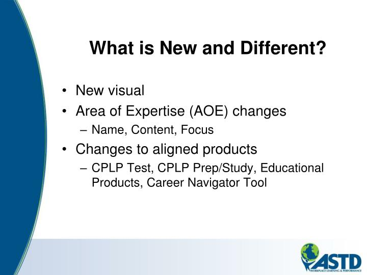 What is New and Different?