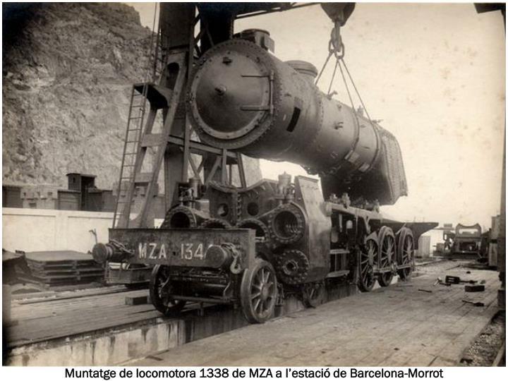 Muntatge de locomotora 1338 de MZA a l'estació de Barcelona-Morrot