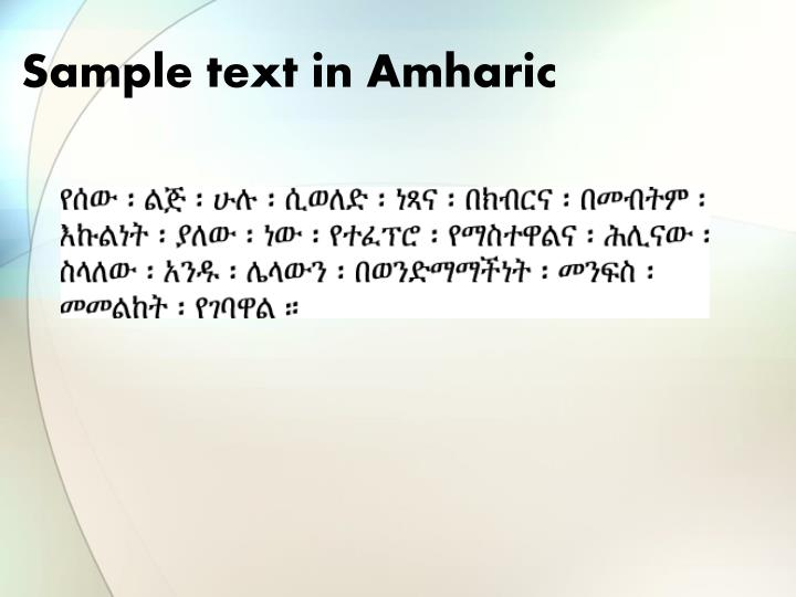 Sample text in Amharic