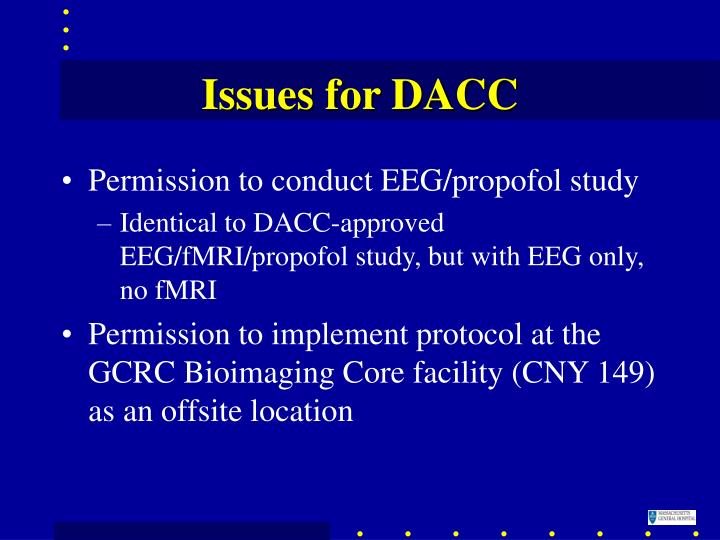 Issues for DACC