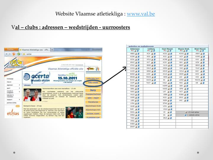Website Vlaamse atletiekliga :