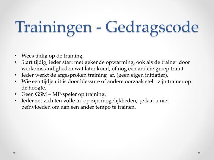 Trainingen - Gedragscode