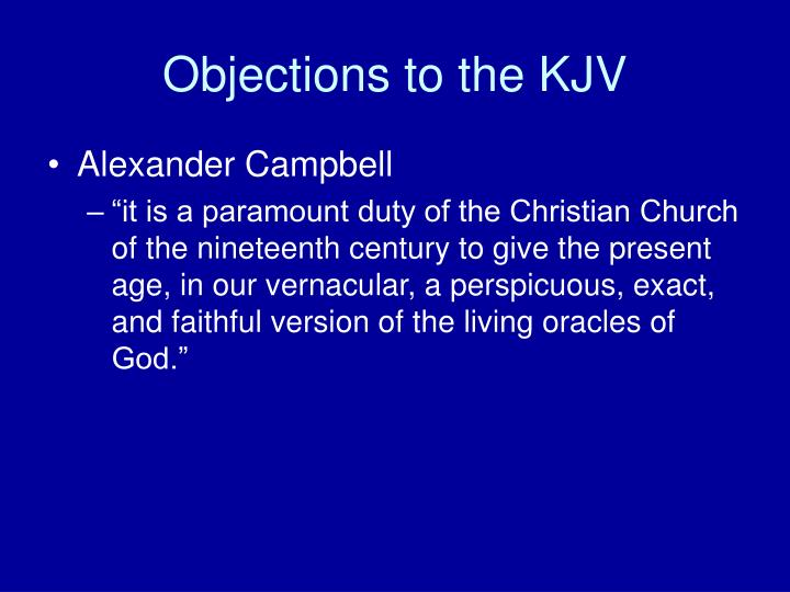 Objections to the KJV