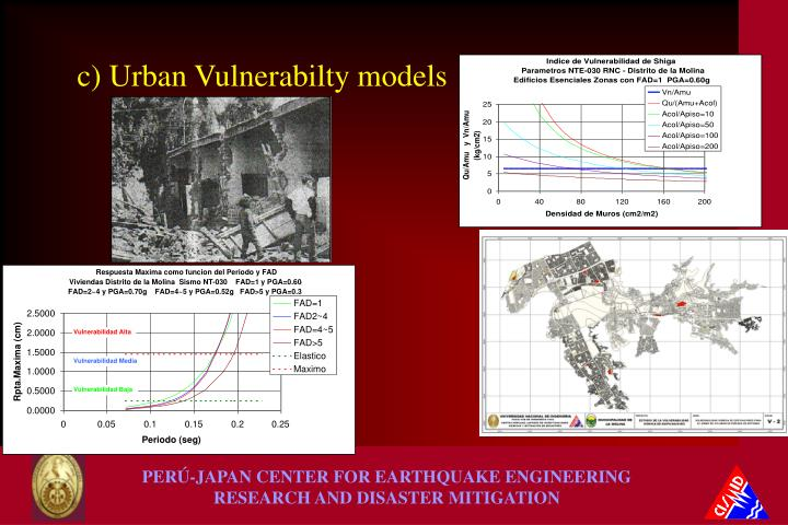 c) Urban Vulnerabilty models