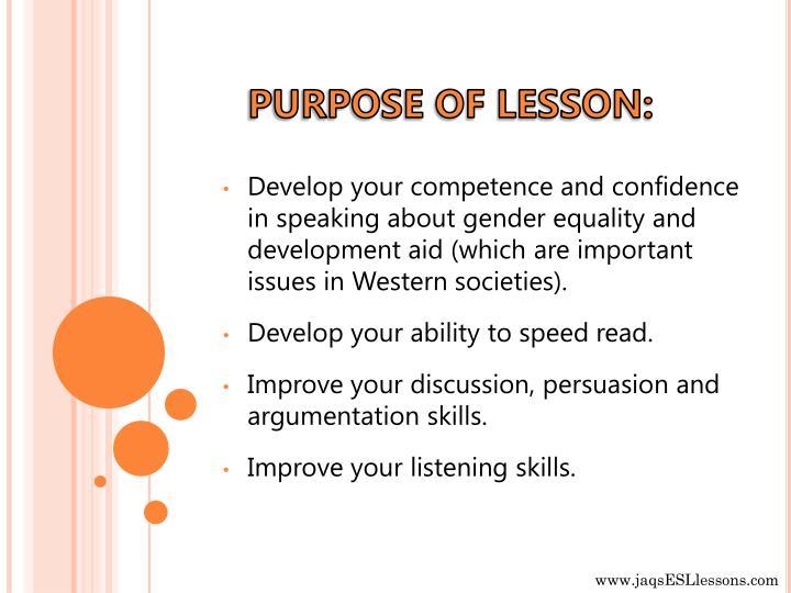 PURPOSE OF LESSON: