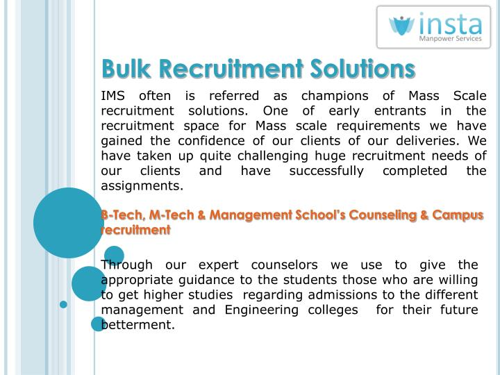 Bulk Recruitment Solutions