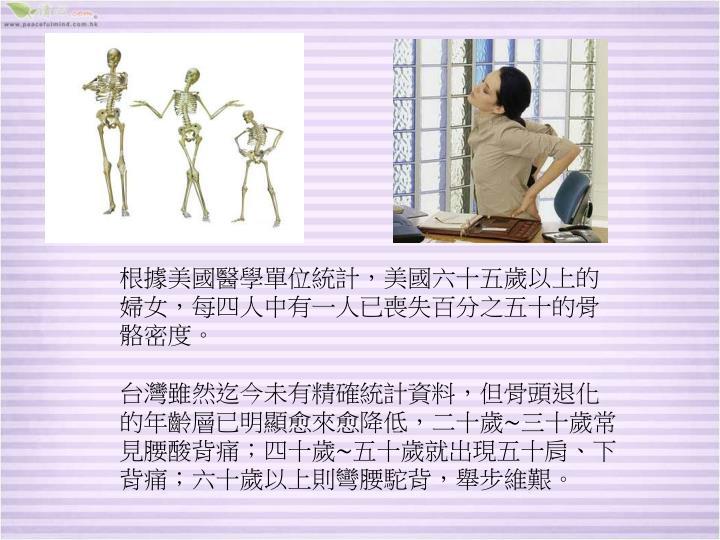 根據美國醫學單位統計,美國六十五歲以上的婦女,每四人中有一人已喪失百分之五十的骨骼密度。
