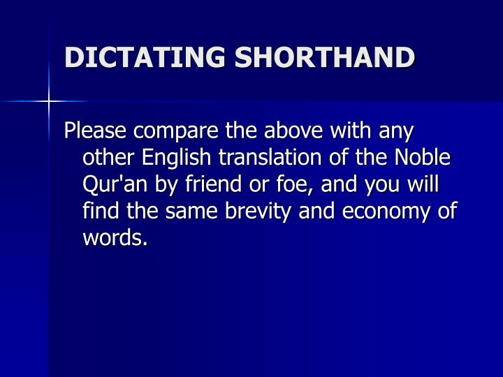 DICTATING SHORTHAND