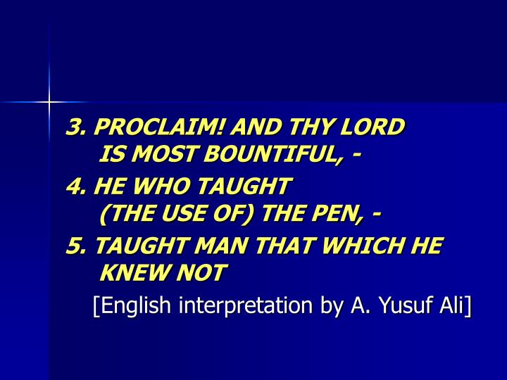 3. PROCLAIM! AND THY LORD
