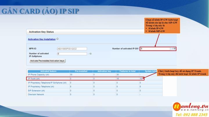 GẮN CARD (ẢO) IP SIP