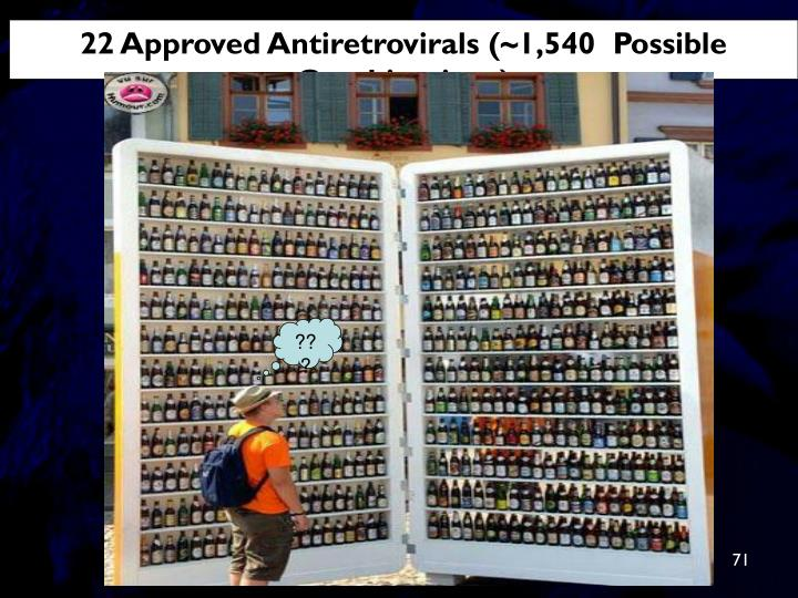 22 Approved Antiretrovirals (~1,540  Possible Combinations)