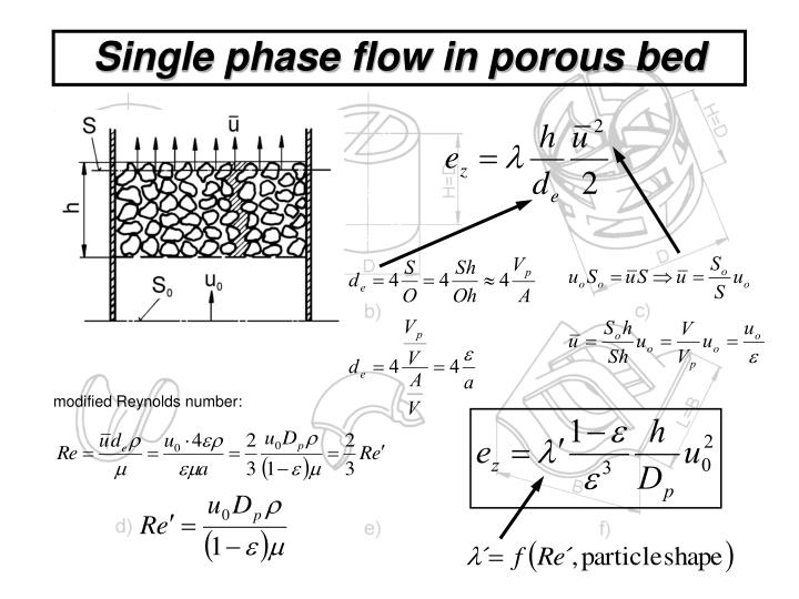 Single phase flow in porous bed