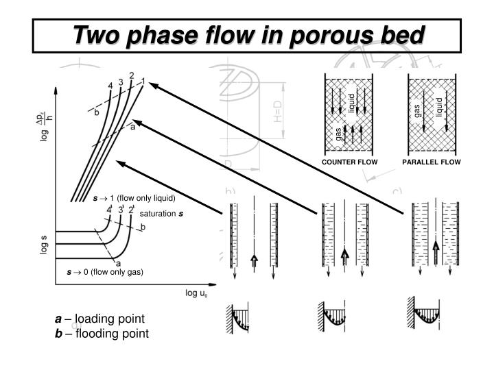 Two phase flow in porous bed