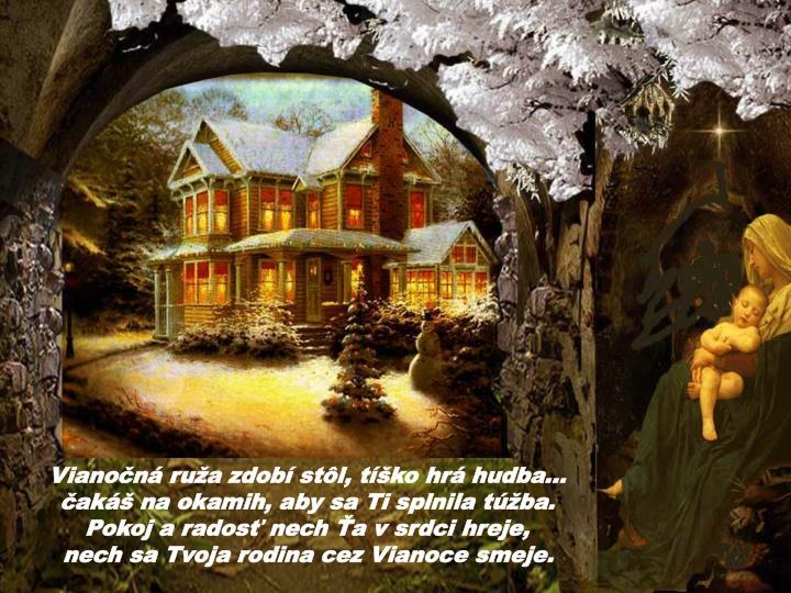 Vianočná ruža zdobí stôl, tíško hrá hudba...