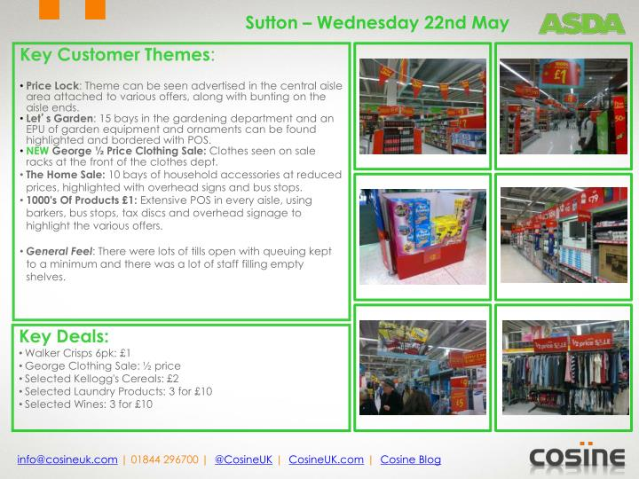 Sutton – Wednesday 22nd May