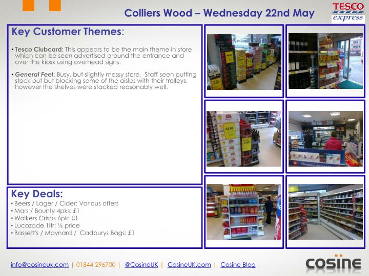 Colliers Wood – Wednesday 22nd May