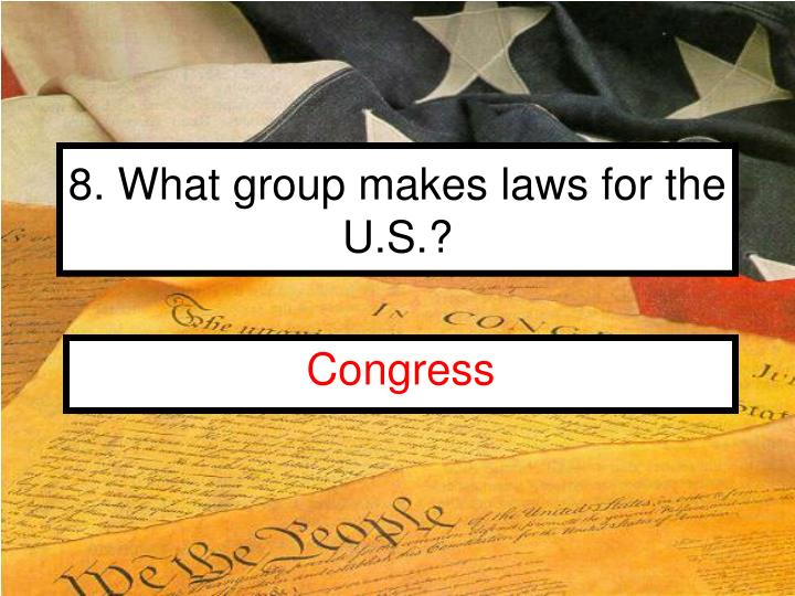 8. What group makes laws for the U.S.?