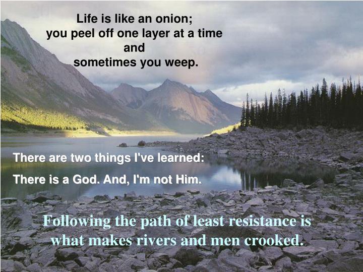 Life is like an onion;