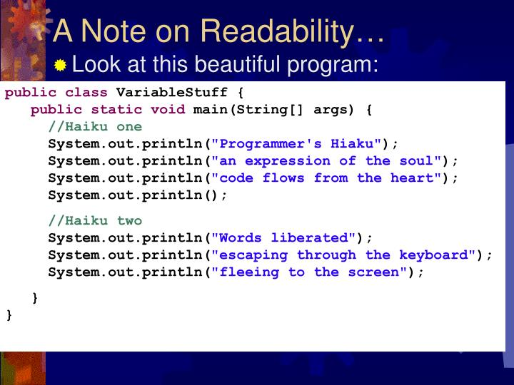 A Note on Readability…