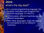 java what s the big deal