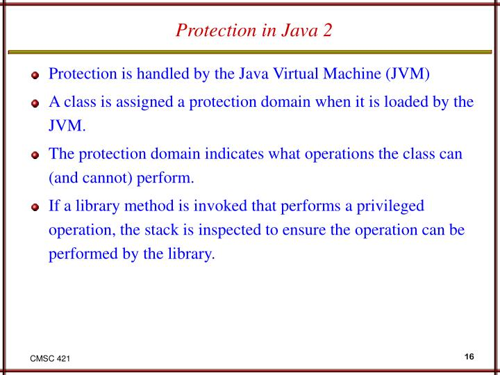Protection in Java 2