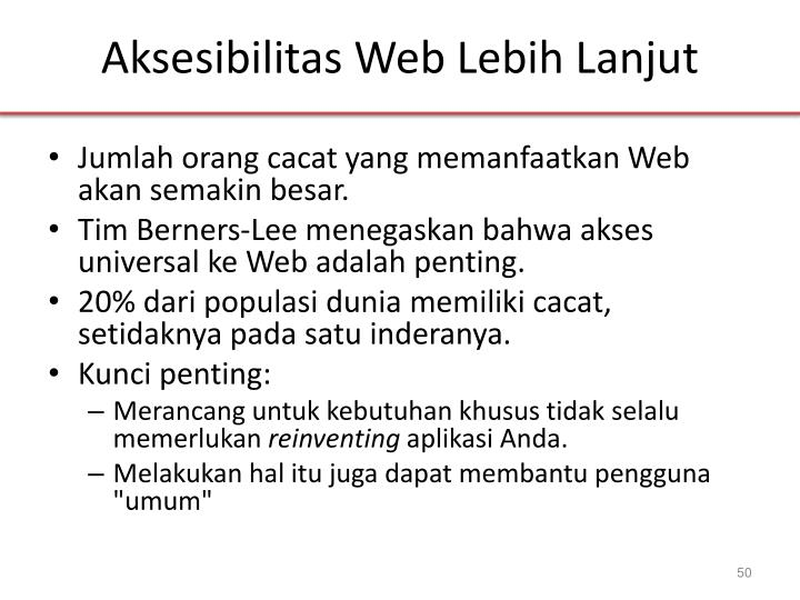 Aksesibilitas Web Lebih Lanjut