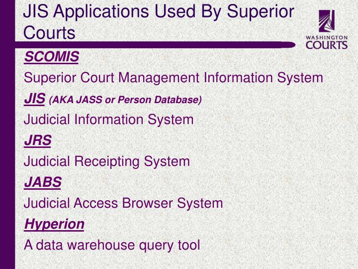 JIS Applications Used By Superior Courts