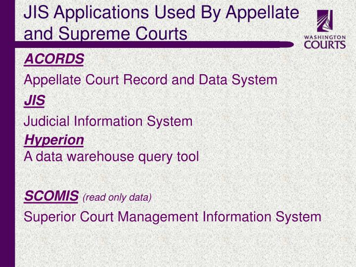 JIS Applications Used By Appellate and Supreme Courts