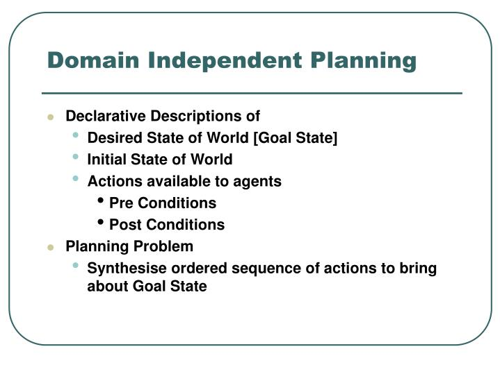 Domain independent planning