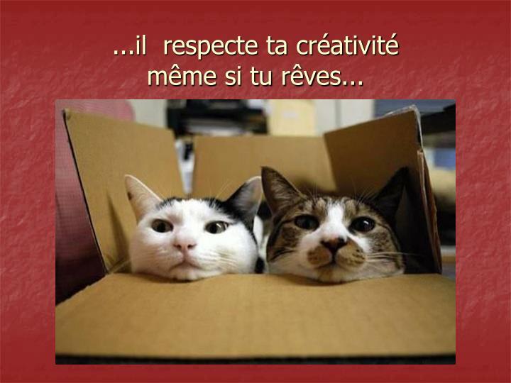 ...il  respecte ta créativité