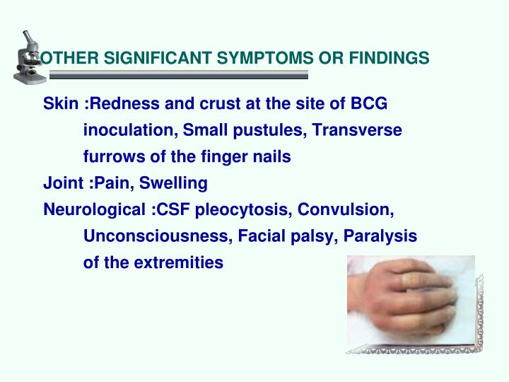 OTHER SIGNIFICANT SYMPTOMS OR FINDINGS