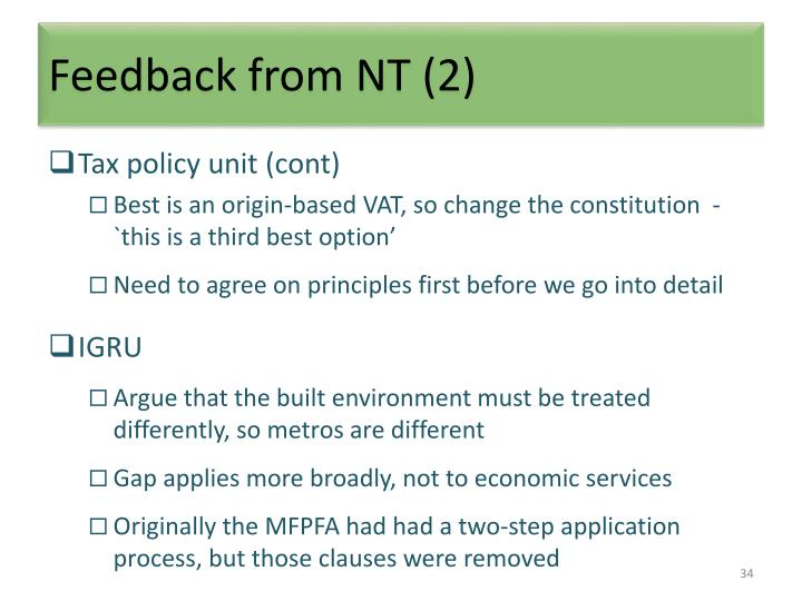 Feedback from NT (2)