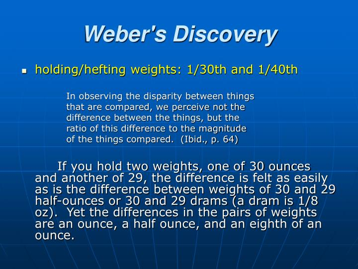 Weber's Discovery