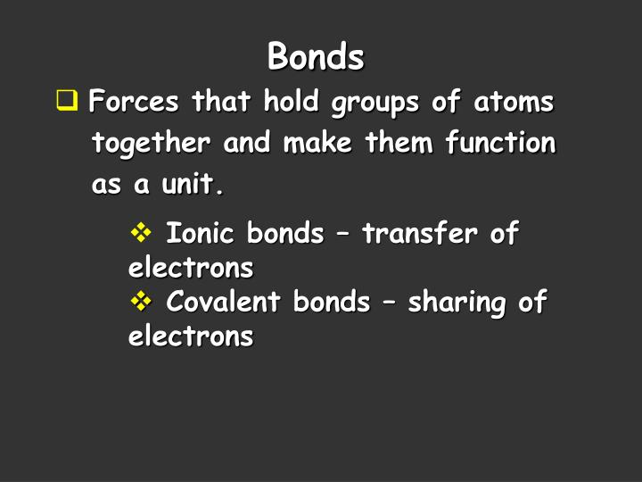 Forces that hold groups of atoms
