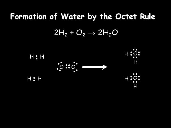 Formation of Water by the Octet Rule