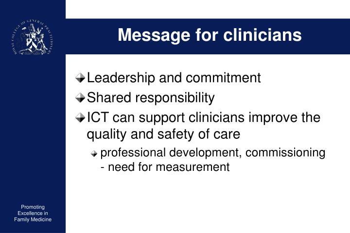 Message for clinicians