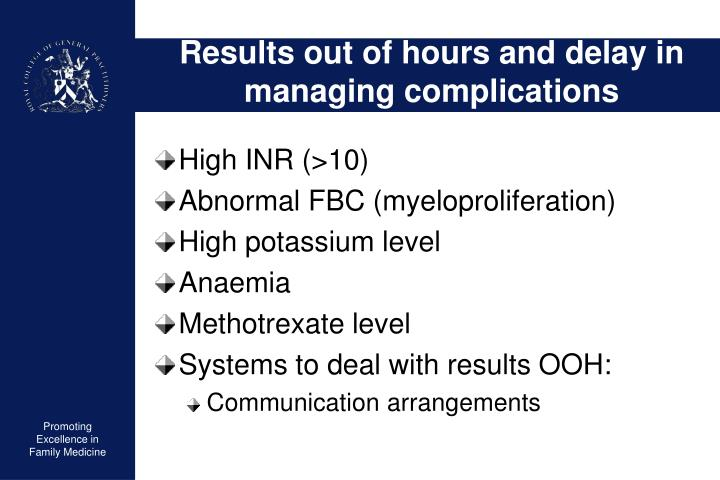 Results out of hours and delay in managing complications
