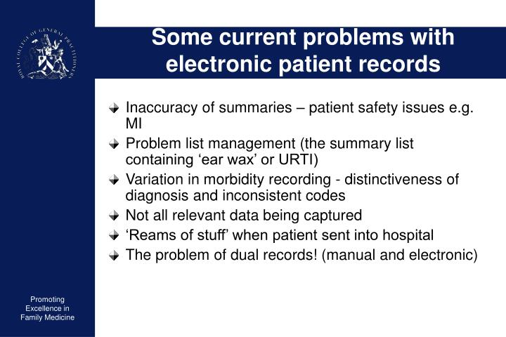 Some current problems with electronic patient records
