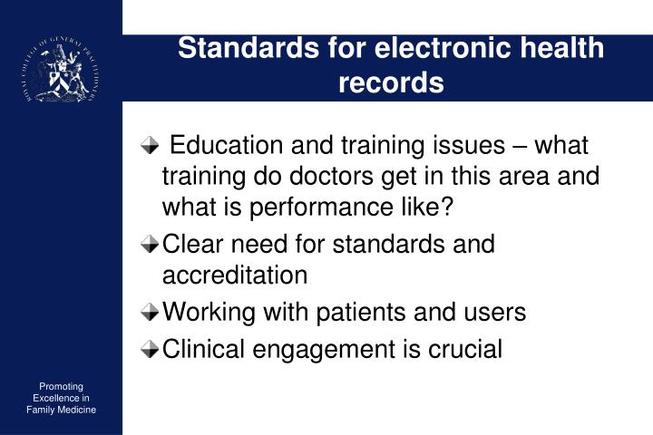 Standards for electronic health records