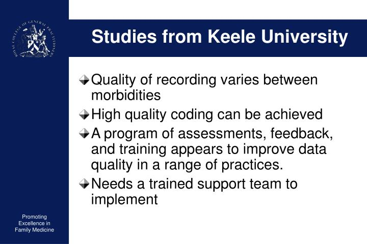 Studies from Keele University