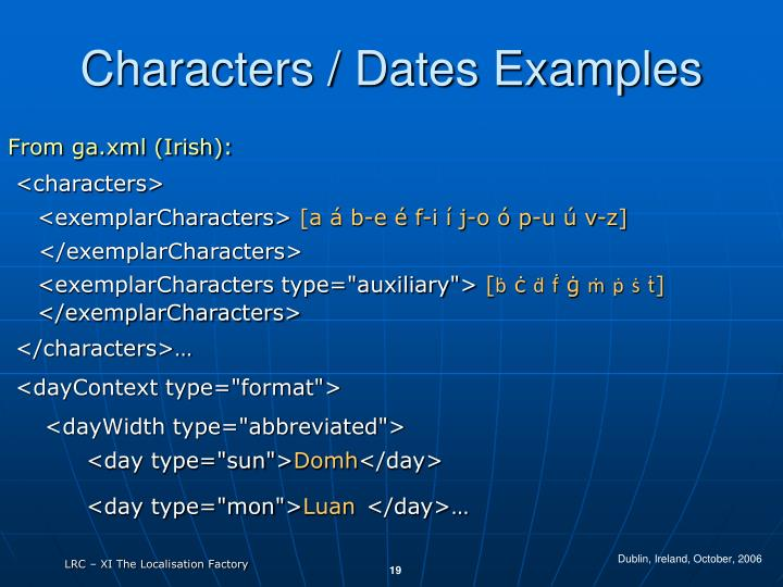 Characters / Dates Examples