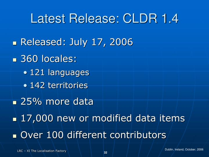 Latest Release: CLDR 1.4