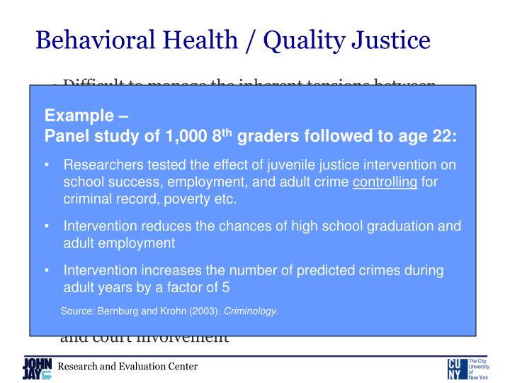 Behavioral Health / Quality Justice