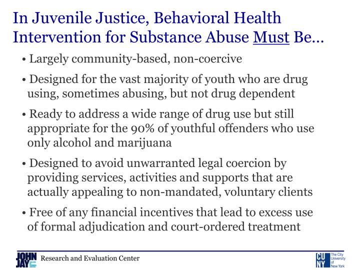 In Juvenile Justice, Behavioral Health Intervention for Substance Abuse