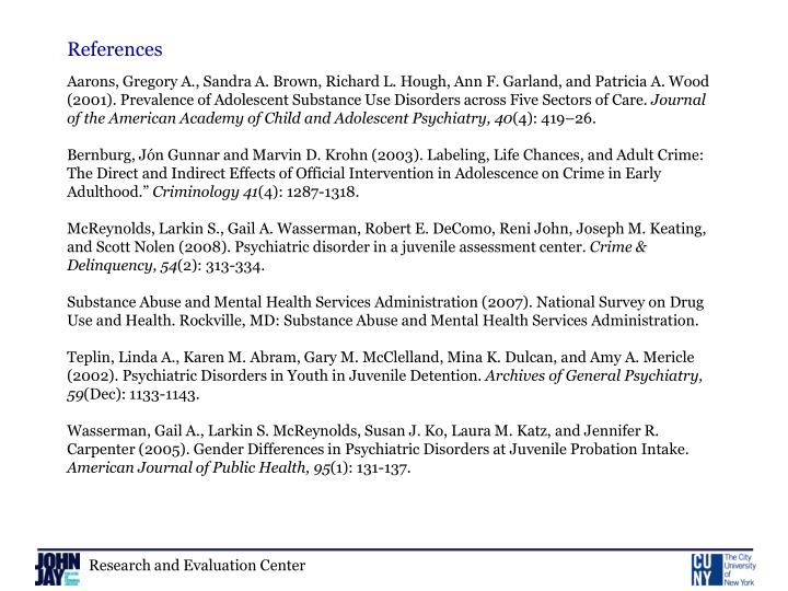 Aarons, Gregory A., Sandra A. Brown, Richard L. Hough, Ann F. Garland, and Patricia A. Wood (2001). Prevalence of Adolescent Substance Use Disorders across Five Sectors of Care.
