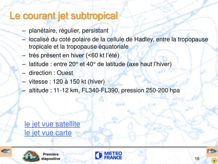Le courant jet subtropical