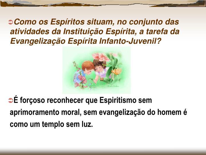 Como os Espíritos situam, no conjunto das atividades da Instituição Espírita, a tarefa da Evangelização Espírita Infanto-Juvenil?